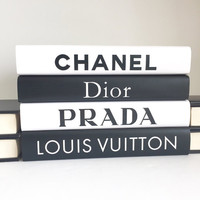Chanel, Dior, Prada, Louis Vuitton, Designer Books, Designer Decor, Chanel Decor, Black Books, White Books, Interior Design Books, Book Gift