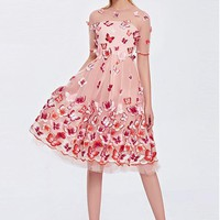 [256.99] In Stock Elegant Tulle Jewel Neckline Knee-length A-line Homecoming Dresses With Embroidery - dressilyme.com