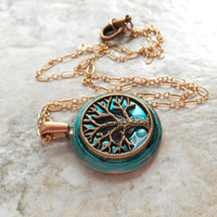 tree of life necklace: aqua blue - wiccan pendant - celtic jewelry - tree necklace - copper jewelry - unique gift - spiritual jewelry