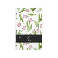 Pink Tulip Floral Patten Modern Chic Personalized Journal