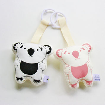 Koala Bear Rattle Toy Hand Printed Organic - Black or Dusty Pink