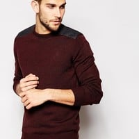 New Look Crew Neck Sweater with Shoulder Patch