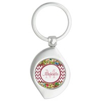 Mod Red Chevron Vintage Floral Monogrammed Name Silver-Colored Swirl Metal Keychain