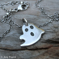 Silver Ghost Necklace PMC Ghost Silver by SweetSilverJewelry