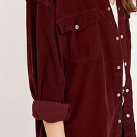 Urban Renewal Vintage Customised - Chemise Pinwell en velours côtelé bordeaux - Urban Outfitters