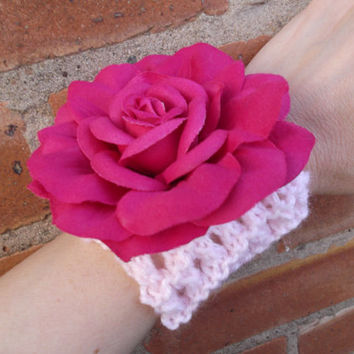 Pink lacy cuff bracelet with large pink rose - corsage - prom/wedding/graduation - OOAK