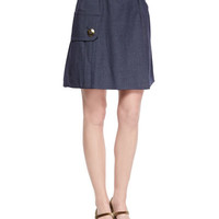 Cashmere-Blend Military Rib-Knit Sweater & Belted Pocket Flounce Skirt