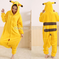 Adults Flannel Pyjama Suits Cosplay Costumes Garment Cute Cartoon Animal Onesuits Pajamas Pikachu Halloween Free Shipping