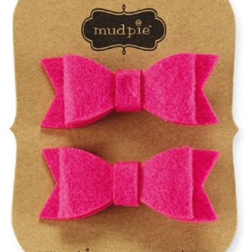 Mud Pie-Pink Felt Bow Clips Set, Pink
