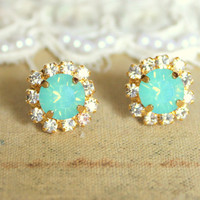 Crystal stud mint earring  14k plated gold post by iloniti on Etsy