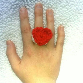 Heart Ring, Crochet Ring, Valentines Gift for her, Valentines Day Ring