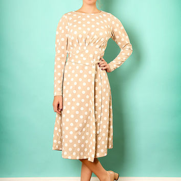 Beige midi dress – Long sleeve dress - Modest  dress with polka dots print