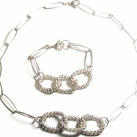 Sterling Chain Link Necklace Bracelet Jewelry Set