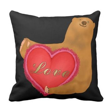 Rolling Valentines Bear Throw Pillow