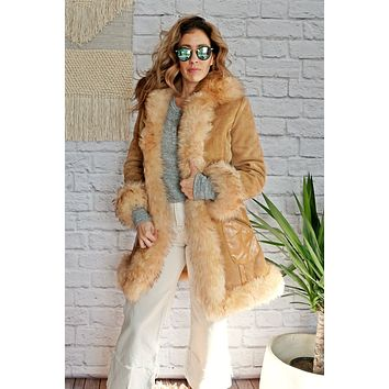 Vintage 1970s Sheepskin + Suede Penny Lane Coat