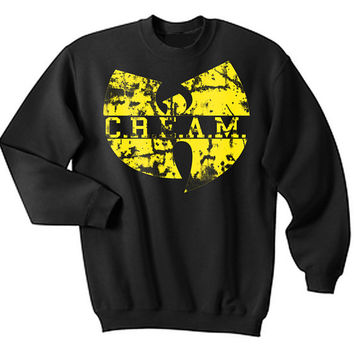 WU TANG Cream Shirt Cash Rules Everything Around Me crew neck sweat shirt free shipping