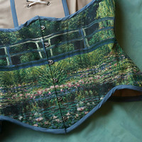 Monet Painting Corset, Historical, Art history, Waterlilies pond underbust corset by RetroFolie