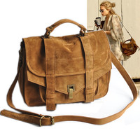 Brown Suede Foldover Messenger Bag