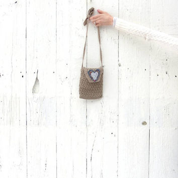 Crossbody Bag , boho bag , upcycled purse , natural neutral small handbag  , recycled purse heart valentines day gift for her by wearlovenow