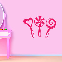 Wall Vinyl Decal Sticker Removable Kid Room Cafe Shop Sweet Candy Lollipops TK59