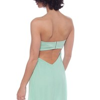 Dreamy Season Cut Out Back Strapless Chiffon Tube Dress - Mint
