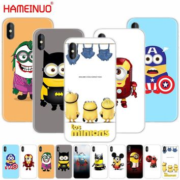 HAMEINUO Funny hero Minion Avengers cell phone Cover case for iphone X 8 7 6 4 4s 5 5s SE 5c 6s plus