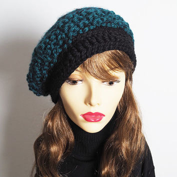 Teal crochet beanie - Ready to Ship - Womans knit hat - Hunter green & black cloche hat - Fashion knit hat - Chunky knit hat - Teen girl hat