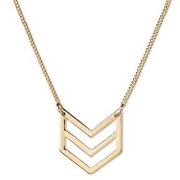 "Women's Double Chevron Short Necklace - Gold (16"")"