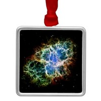 NASAs Crab Nebula Square Metal Christmas Ornament