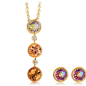 NEOGLORY Round Crystal Decorated Alloy Necklace & Earrings Set