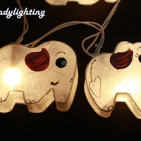 Fairy string lights 20 pieces for homedecor,party decor,wedding patio,indoor string lights bedroom fairy lights cute elephant mulberry paper