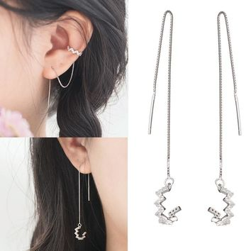 Crystal Wave Moon Bar Long Chain Threader Earrings or Ear Wrap Climber Clip Two Wearing 925 Sterling Silver Earrings Jewelry