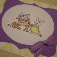 Easter Card/Spring Card/New Baby Card-Handmade & Handstamped-Multi occasion card with bunnies