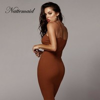 NATTEMAID Spaghetti Strap Backless Sleeveless Sexy Dress Women Strapless Slim Summer Dresses Long Bodycon Sweater Dress Vestidos