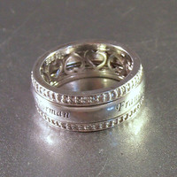 Sterling Cigar Band Wedding Ring, Diamond Accents, Spinning Center, Thick