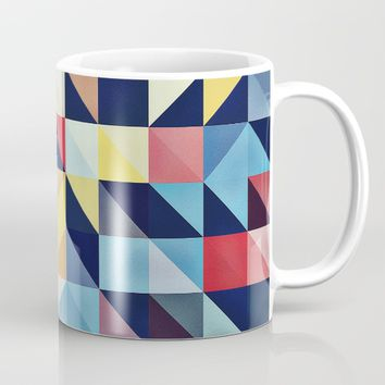 Modern Colorful Retro Geometric Triangle Pattern Mug by Jeanette Rietz