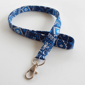 Bandana Lanyard / Blue Bandanna / Western Keychain / Country Western / Key Lanyard / ID Badge Holder / Fabric Lanyard / Royal Blue