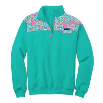 Simply Southern Half Zip Pullover- Seashell