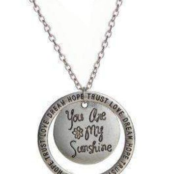 You Are My Sunshine Silver Plated Necklace With Adjustable Change