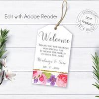 Bohemian Wedding Welcome Tags, Editable Templates, DIY Wedding Template, Marsala Burgundy, Summer Wedding, Printable Welcome Wedding Tag