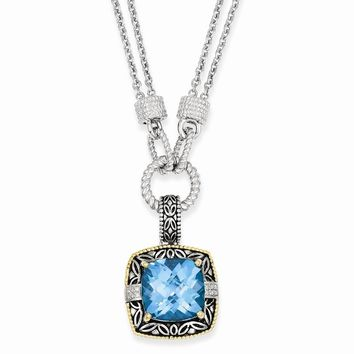 Sterling Silver w/14k Gold 17.47Sky Blue Topaz & 1/20ct. Diamond 17in Necklace