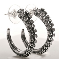 Octopus tentacle Earrings silver hoop
