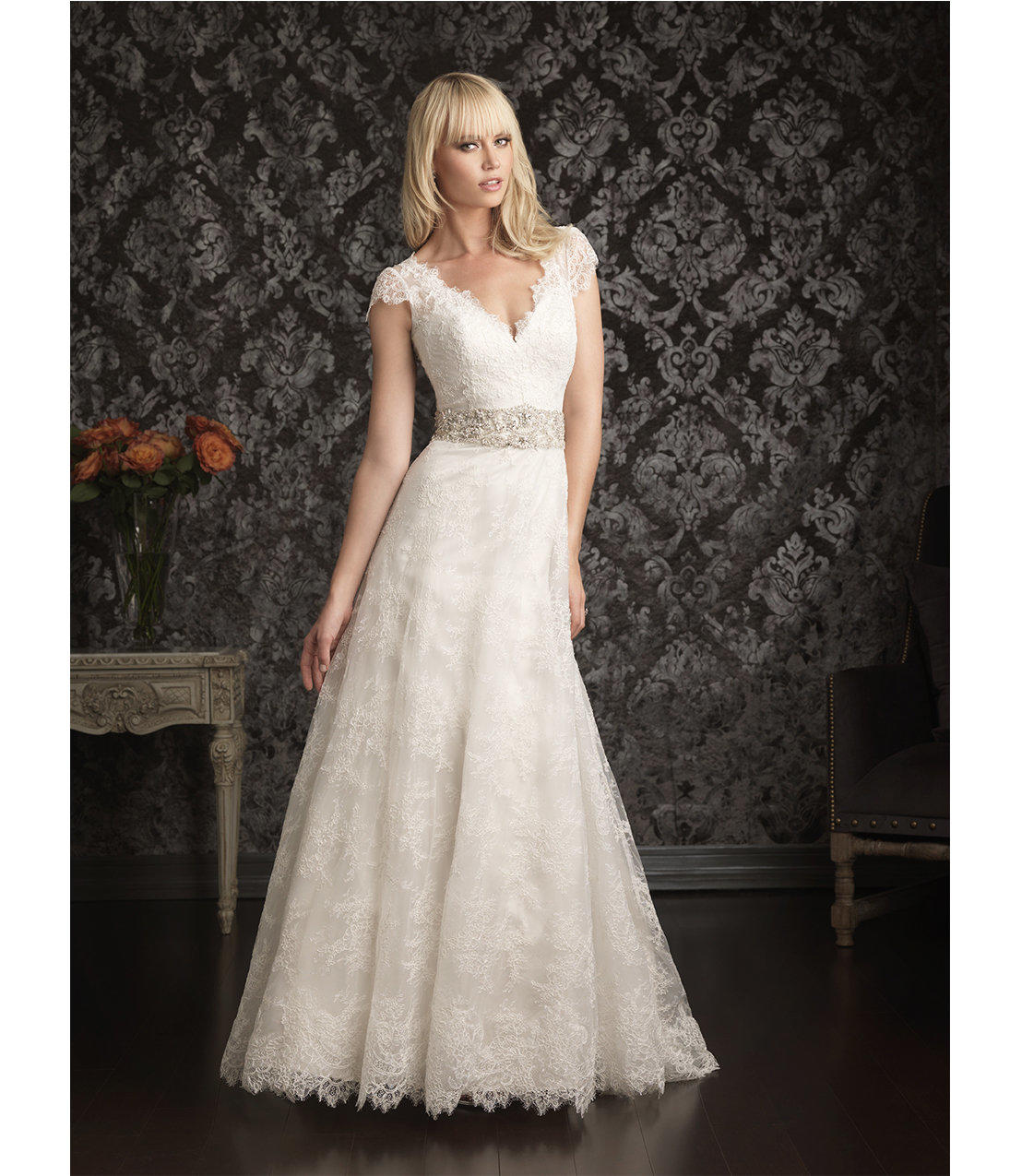 2013 Allure Bridal Ivory & Silver Lace from Unique Vintage