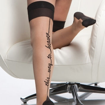 Cuban Heel This Way To Heaven Sheer Thigh Highs