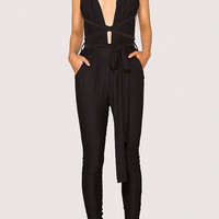 Black Multiways Open Back Tie Waist Jumpsuit