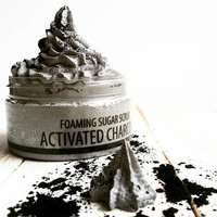 Charcoal Sugar Scrub, Whipped Sugar Scrub, Sugar Scrub, Foaming Sugar Scrub, Activated Charcoal, Detox Body Scrub, Whipped Soap