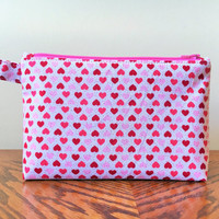 Valentine's Day Hearts Makeup Bag, Zipper pouch Red Pink Heart Shapes on white
