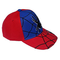 Kid`s Unisex Adjustable Velcro Spiderman Baseball Cap (Blue/Red Spider Eyes 3)