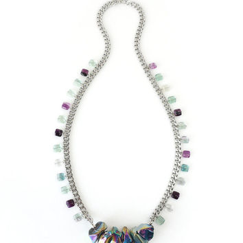 Polished Titanium Coated Rock Crystal Statement Necklace with Fluorite Beads, Fashion Jewelry
