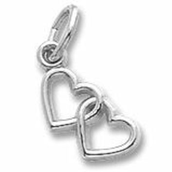 2 Hearts Charm In 14K White Gold